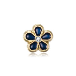 PIN0037-1 BOBIJOO Jewelry Forget-me-not Freemason 8mm gold, enamel and diamond pins
