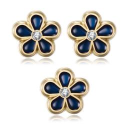 PIN0037-3 BOBIJOO Jewelry Los 3 Freimaurer Vergissmeinnicht Stifte 8mm Gold, Emaille und Diamant