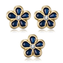 PIN0037-3 BOBIJOO Jewelry Lot 3 freemason forget-me-not pins 8mm gold, enamel and diamond