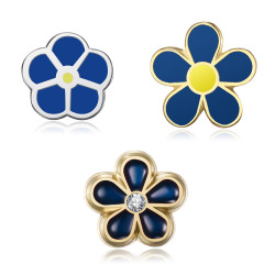 PIN0038 BOBIJOO Jewelry Lot 3 freemason forget-me-not pins 8, 10 and 12mm