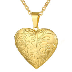 PEF0020 BOBIJOO Jewelry Foto Herz Anhänger Edelstahl Gold