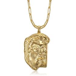 PE0104 BOBIJOO Jewelry Pendente in oro con testa di Gesù Cristo e catena a graffetta