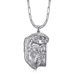 PE0107 BOBIJOO Jewelry Pendente Gesù in argento con testa di Cristo e catena a trombone