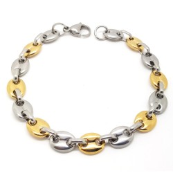 Bracelet Coffee Bean Man Steel Golden Gold Bi Color 8mm IM#19141