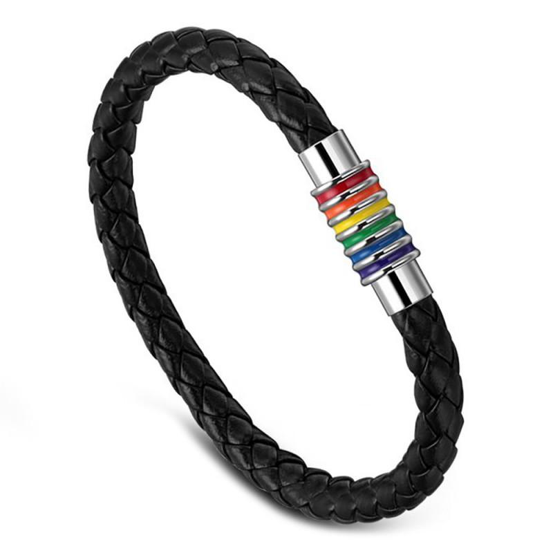 BR0019 BOBIJOO Jewelry Pulsera De Cuero Trenzado Del Orgullo Gay