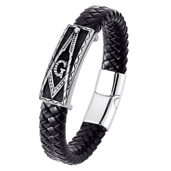 BR0107B BOBIJOO Jewelry Bracelet Freemason Man Black Leather Stainless Steel