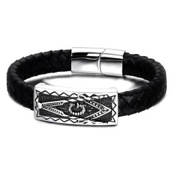 BR0107 BOBIJOO Jewelry Masonic Bracelet 21cm Man Black Leather Stainless Steel