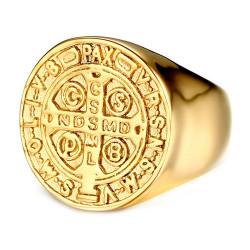 BA0224 BOBIJOO Jewelry Anillo Saint-Benoit Hombre Acero Inoxidable Todo Oro