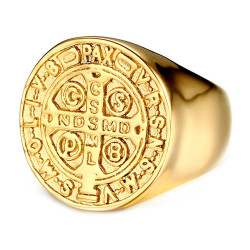 BA0224 BOBIJOO Jewelry Ring Saint-Benoit Man Stainless Steel All Gold