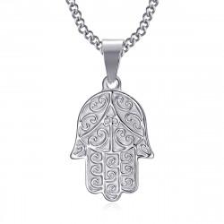 PEF0055S BOBIJOO Jewelry Collar mano de fatma Acero inoxidable con cadena 55cm