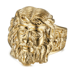 Anello anello Testa di Gesù Acciaio Oro Uomo Croce IM#19199