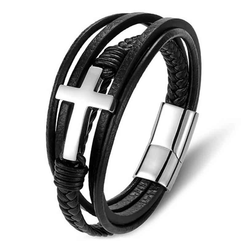 Bracelet croix homme Vrai cuir noir et Acier inxoydable Argent bobijoo