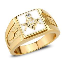 BA0393 BOBIJOO Jewelry Quadratische Freimaurer Ringmann Stahl Gold und weiße E-Mail