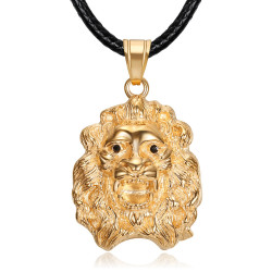 PEF0067 BOBIJOO Jewelry Women's lion head necklace rose gold steel black eyes pendant