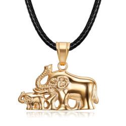 PEF0068 BOBIJOO Jewelry Elefanten Halskette Frau Roségold Stahl Anhänger Familie