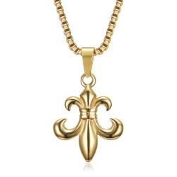 PE0130 BOBIJOO Jewelry Colgante Fleur-de-Lys, acero dorado y su cadena veneciana