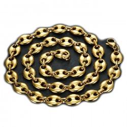 COH0015 BOBIJOO Jewelry Collar de cadena de granos de Café bañados en Oro de Acero