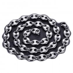 COH0016 BOBIJOO Jewelry Collar de granos de café de acero plateado: 4 tamaños a elegir