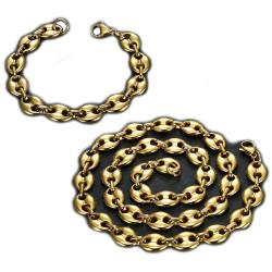 COH0017 BOBIJOO Jewelry Conjunto Collar + Pulsera Grano Café Acero Bañado en Oro