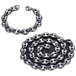 COH0018 BOBIJOO Jewelry Conjunto Collar + Pulsera Grano Café Acero Plateado