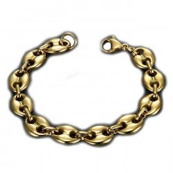 BR0267 BOBIJOO Jewelry Pulsera de granos de café Steel Gold: 4 tamaños a elegir