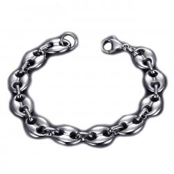 BR0268 BOBIJOO Jewelry Kaffeebohnenarmband Stahl Silber: 4 Größen zur Auswahl