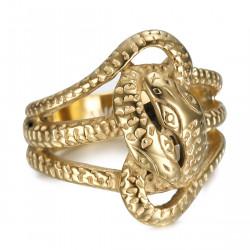 BA0394 BOBIJOO Jewelry Anillo serpiente doble Savia Dos cabezas Acero Oro