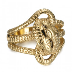 BA0394 BOBIJOO Jewelry Double snake ring Sap Two heads Steel Gold