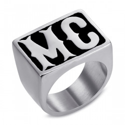 BA0159 BOBIJOO Jewelry Signet Ring Biker MC Rectangle Stainless Steel