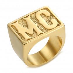 BA0222 BOBIJOO Jewelry Anello Biker MC Signet Ring Uomo Rettangolo Acciaio Oro