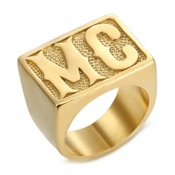 BA0222 BOBIJOO Jewelry Ring Biker MC Signet Ring Man Rectangle Steel Gold