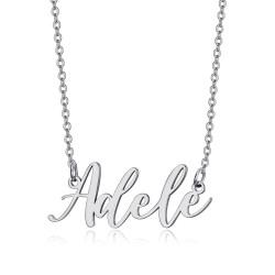 PEF0065S BOBIJOO Jewelry Collar con nombre Mujer Acero inoxidable Plata a elección