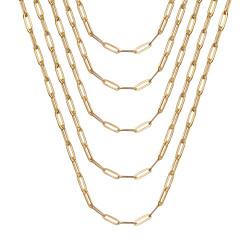 COH0035 BOBIJOO Jewelry Cadena de trombón de acero dorado de malla de caballo de 4 mm