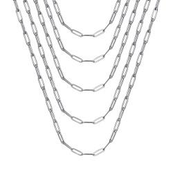 COH0035S BOBIJOO Jewelry Cadena de trombón de acero plateado de malla de caballo 4 mm