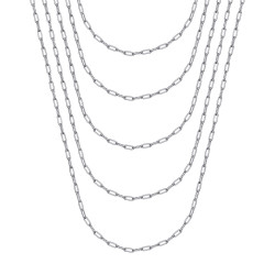 COH0036S BOBIJOO Jewelry Cadena de trombón de acero plateado de malla de caballo de 2 mm