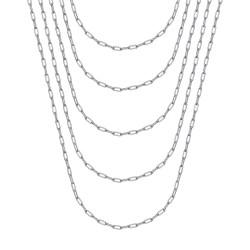 COH0036S BOBIJOO Jewelry Horse mesh 2mm Silver steel trombone chain