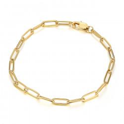 BR0284 BOBIJOO Jewelry Pferdenetz: 4 mm goldenes Posaunenarmband aus Stahl