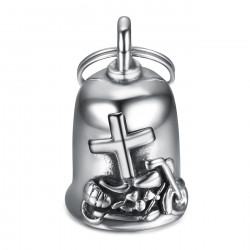 MOT0038 BOBIJOO Jewelry Guardian bell Latin cross Bécane 316L steel