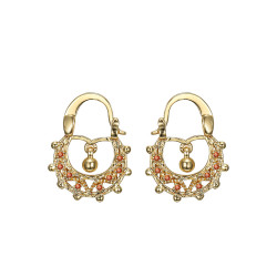 BOF0117 BOBIJOO JEWELRY Savoyardes Baby 15mm Fire Orange Hoop Earrings