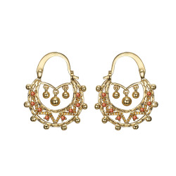 BOF0118 BOBIJOO JEWELRY Savoyardes Child Adult 25mm Fire Orange Hoop Earrings