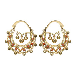 BOF0119 BOBIJOO JEWELRY Savoyardes Woman Adult 35mm Fire Orange Hoop Earrings