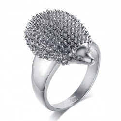 BA0201S BOBIJOO Jewelry Ring Hedgehog Niglo Stainless Steel Silver