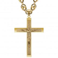 PE0322 BOBIJOO Jewelry Colgante Cruz de Cristo XXL y grano de café 70cm Oro