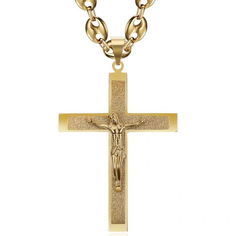 Pendentif Croix du Christ XXL et Grain de Café 70cm Or bobijoo