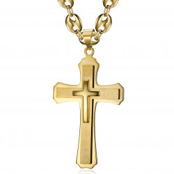 PE0323 BOBIJOO Jewelry Pendente XXL a tripla croce e chicco di caffè 70 cm in oro