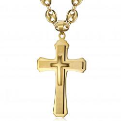 PE0323 BOBIJOO Jewelry XXL Triple Cross Pendant and Coffee Bean 70cm Gold