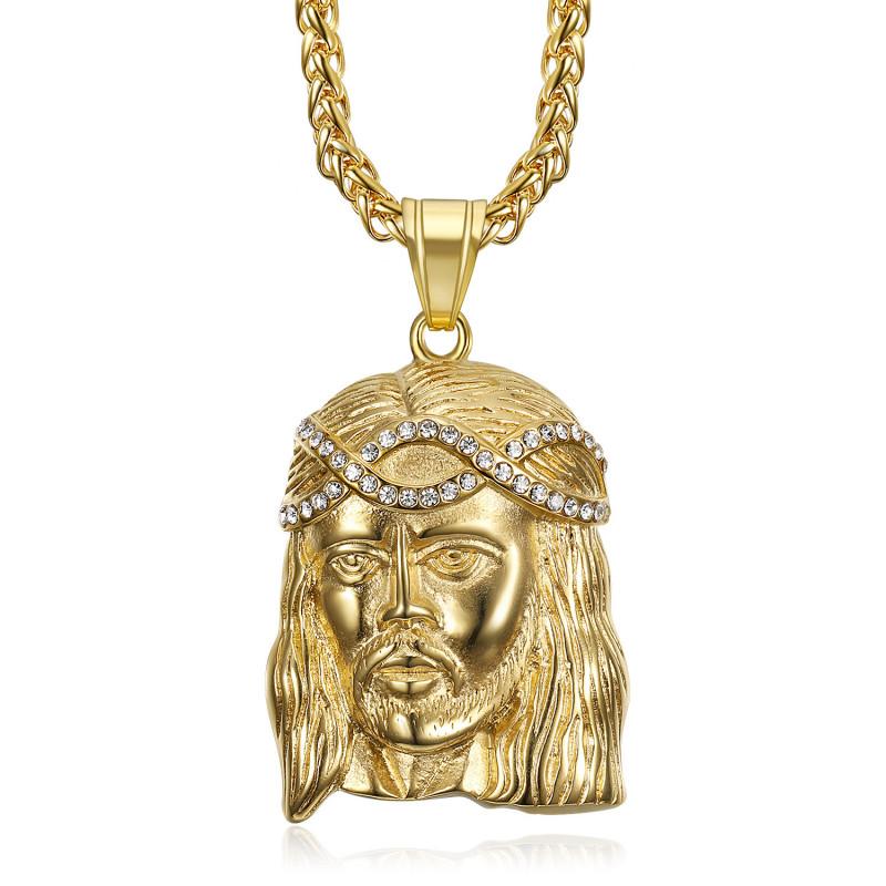 PE0008-GOLD BOBIJOO Jewelry Ciondolo testa di Cristo Acciaio Oro e diamanti falsi