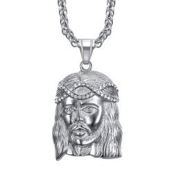 PE0008-SILVER BOBIJOO Jewelry Ciondolo testa di Cristo in acciaio argento e diamanti finti