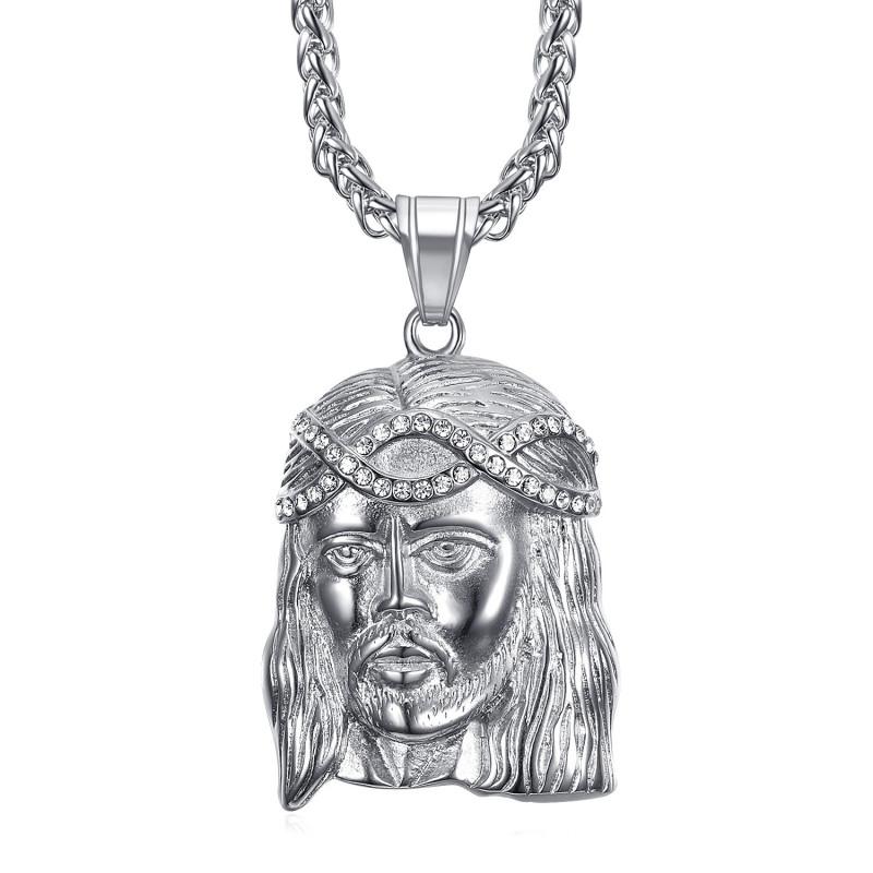 Pendentif tête de Christ Acier Argent et faux diamants bobijoo