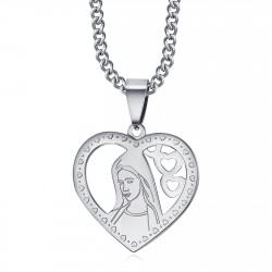 PEF0008S BOBIJOO Jewelry Ciondolo Cuore Vergine Maria Collana Donna Acciaio Argento